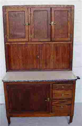 Late 1800's Rare Oak Hoosier Cabinet