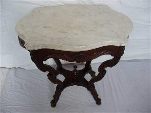 """Victorian Heavily Carved """"Turtle"""" Marble Top Table"""