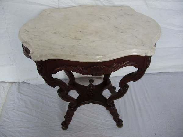 """212: Victorian Heavily Carved """"Turtle"""" Marble Top Table"""