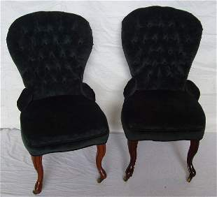 Victorian Diamond Tufted Fabric Parlor Chairs