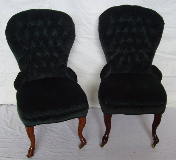 215: Victorian Diamond Tufted Fabric Parlor Chairs
