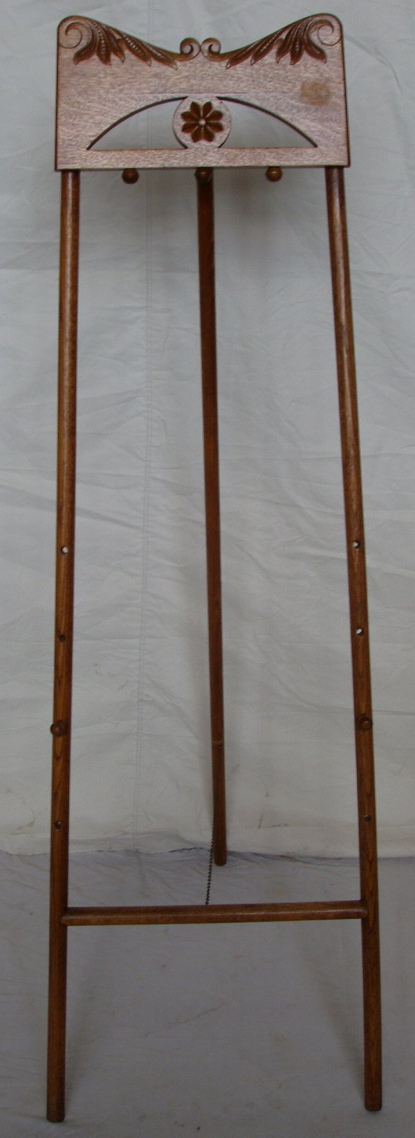 216: Carved Oak Easel w/Pegs for Painting Sizes