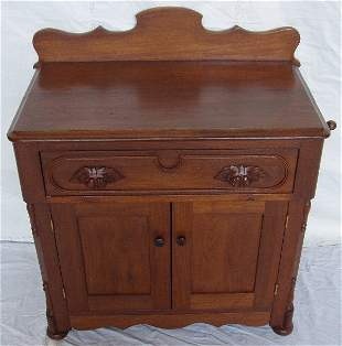 Victorian Heavily Carved Walnut Commode