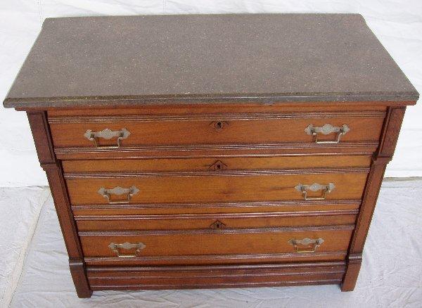 220: Victorian Marble Top Walnut 3 Drawer Dresser