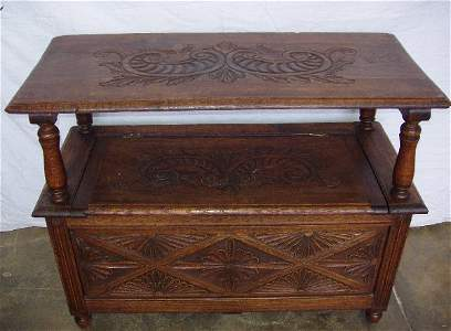 2101: French Heavily Carved Oak Hall Seat