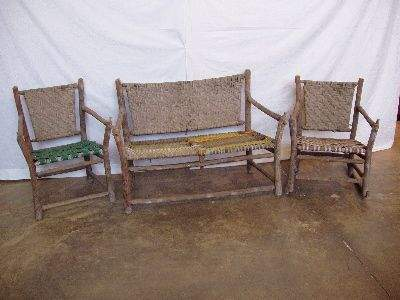 2130: 3 pc. Signed Old Hickory Porch Set