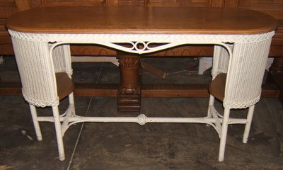 402: Antique Wicker & Oak Desk
