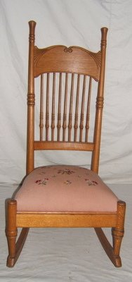 407: Antique Oak Slipper Rocker