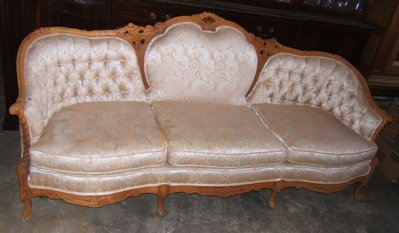 408: Antique French Style Heavily Carved Sofa