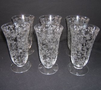 417: 6 Etched Water Glasses