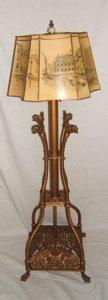 776: Beautiful Antique Griffin Floor Lamp