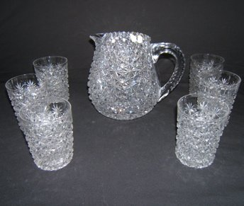 2: Antique Cut Crystal Pitcher with 6 Glasses