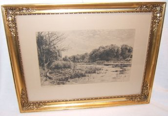 8: Antique Etching Boat by Water 1900
