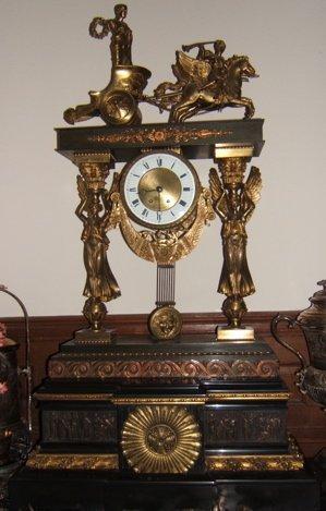 310: European Dore Bronze Chariot Clock 1855