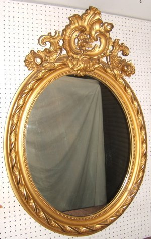 316: French Gold Gilt Floral Mirror