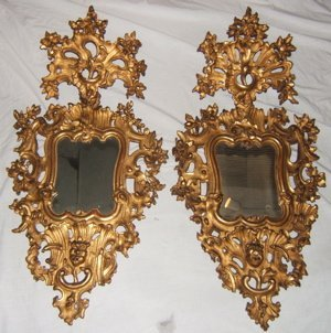 317: 2 Italian Gold Gilt Venetian Mirrors