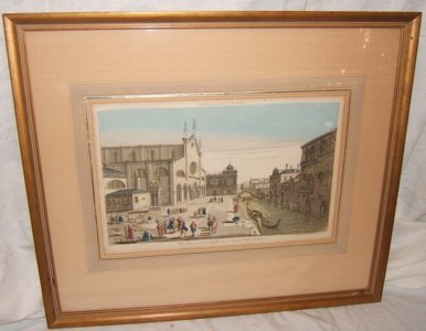 318: French Colored Engraving St. Jean St. Paul Venise