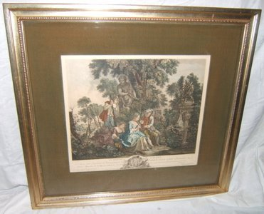 """321: 18th Century Colored Engraving """"Le Maitre Galant"""""""