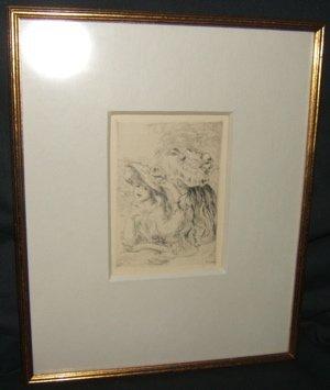 """323: Pierre Aguste Renoir Etching 1897 """"Le Chapeau"""""""