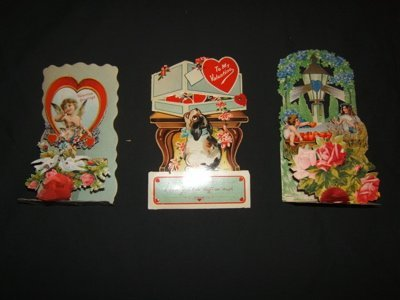 420: 3 German Antique Folding and Opening Valentine Car