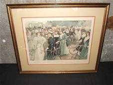 """538: Antique Lithograph """"Cycling in Hyde Park"""""""