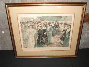 "538: Antique Lithograph ""Cycling in Hyde Park"""