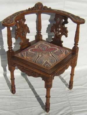 - 1: Antique Italian Heavily Carved Corner Chair
