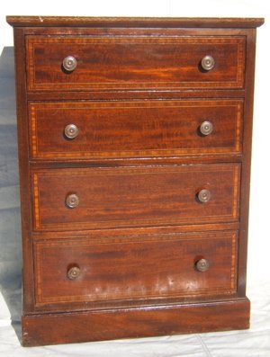 2: Antique Marquetry Inlay Mahogany Nightstand