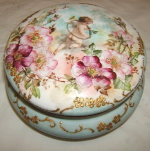 11: Antique Vienna Porcelain Angel Piece with Lid