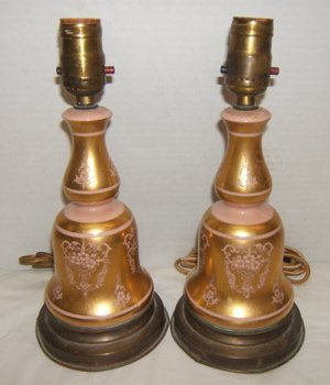 12: 2 Antique Porcelain Lamps with Gold & Pink Colors