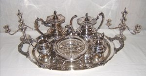 301: Hirata Sterling Silver Tea Set with 2 Candlesticks