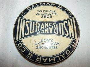 519: Antique Insurance Advertising Mirror.