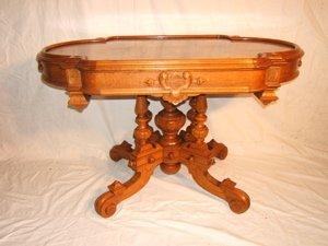 15: Antique Victorian Burl Walnut Parlor Table