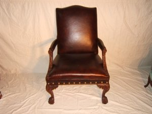 17: Contemporary Leather & Carved Arm Chair