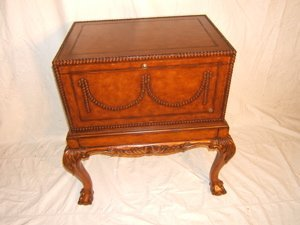 22: Contemporary Chippendale Style Leather Cabinet