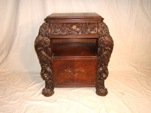 520: Antique Heavily Carved Figural Cabinet Night Stand