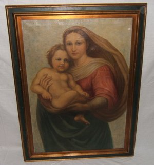 502: Antique Renaissance Painting Madonna with Child