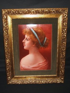 503: Antique KPM Style Porcelain Painting Woman 1907