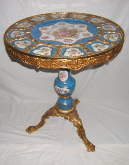 513: French Porcelain Painted Dore Bronze Table