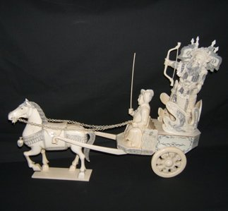 516: Antique Asian Ivory Chariot with Emperor