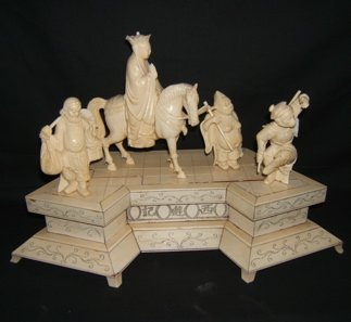 517: Antique Asian Ivory Empress with Peasants