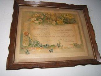 702: Antique Marriage Certificate