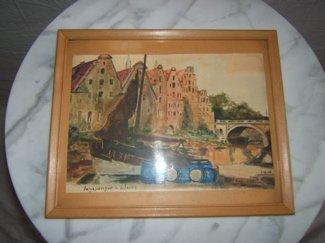 """704: Dutch Watercolor 1938 """"Harbor Scene"""""""