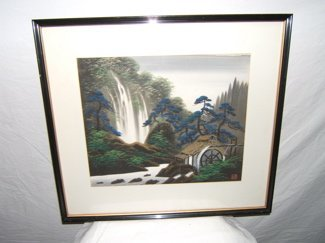710: Asian Painting of Waterfall and Watermill
