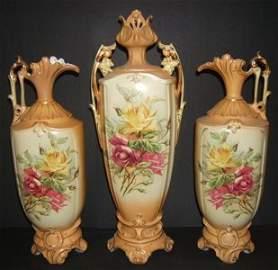773: Antique 3 piece Austrian Urn Set GB & C Royal Whit