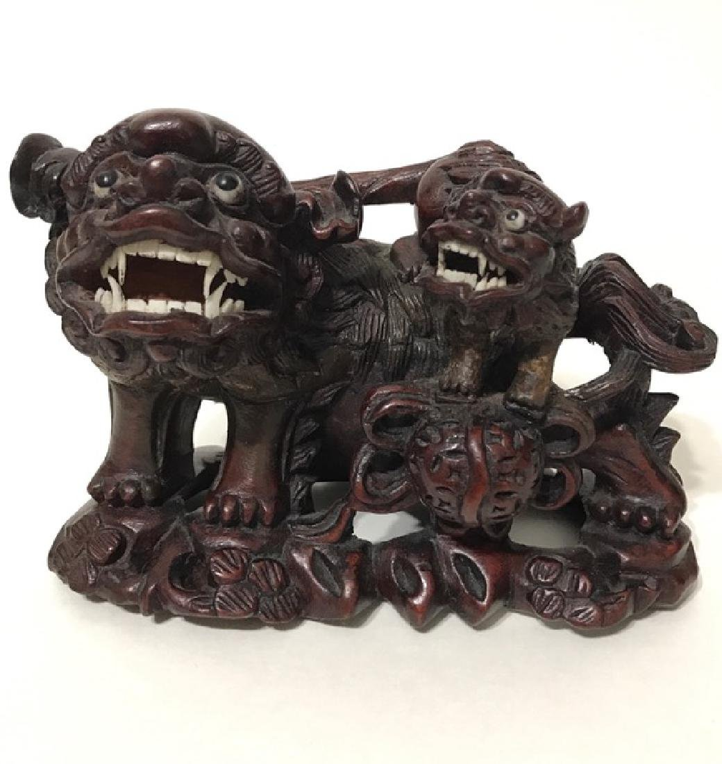 19th Century Hand Carved Temple Guardian FOO DOGS