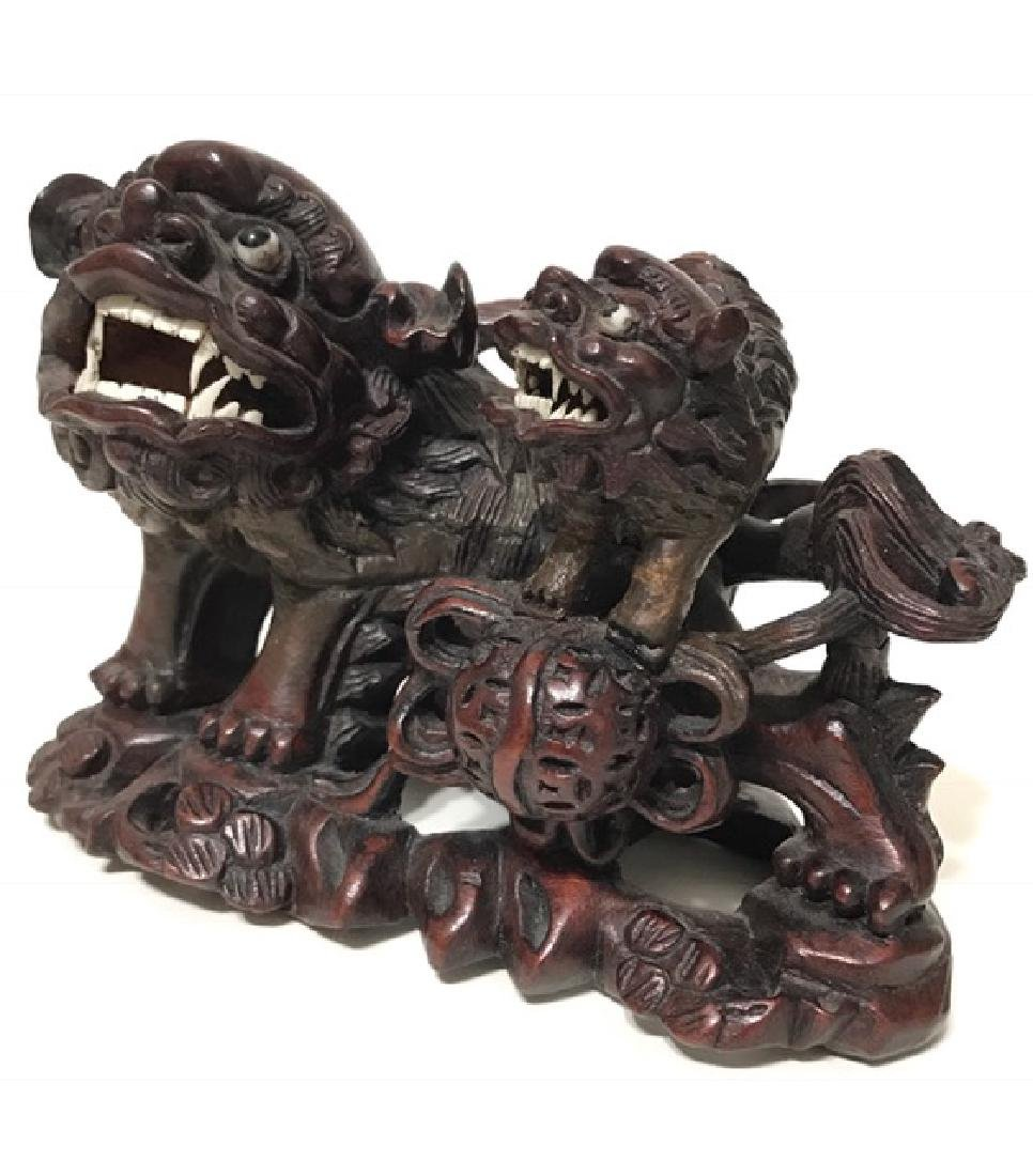 19th Century Hand Carved Temple Guardian FOO DOGS - 4