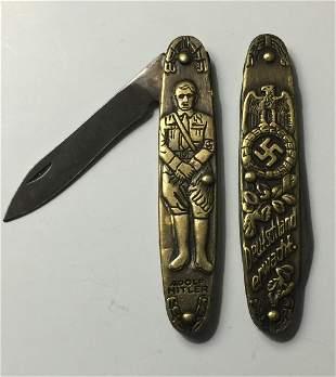Vintage ADOLF HITLER/NAZI/SWASTIKA/Pocket Knife
