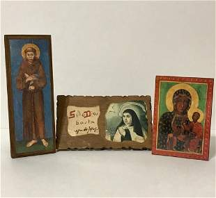 Lot of 3 Early Religious Icons - GREAT LOT