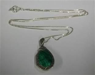 Sterling Silver Necklace & Malachite Pendant